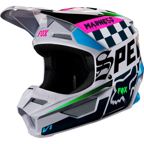 FOX RACING YOUTH V1 CZAR HELMET - LIGHT GREY