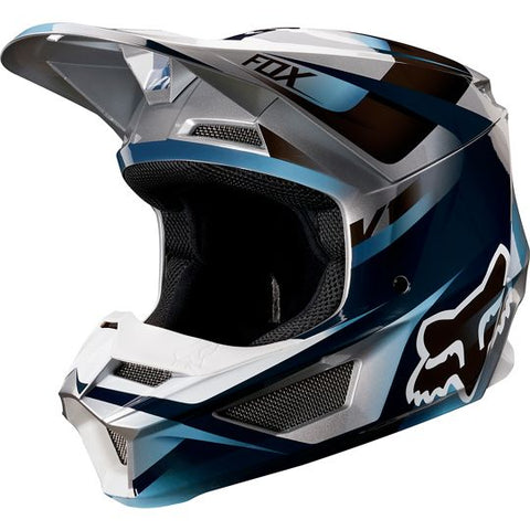 FOX RACING YOUTH V1 MOTIF HELMET - BLUE GREY