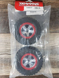 TRAXXAS TRA5867 TIRE/WHL ASSEMBLED RED BEADLOCK FR/RE (2)