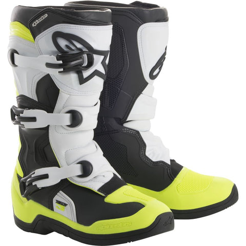 ALPINESTARS KIDS / YOUTH TECH 3S BOOTS - BLACK WHITE YELLOW