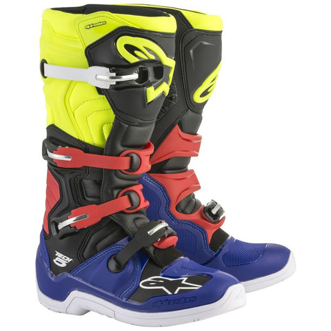 ALPINESTARS TECH 5 BOOT - YELLOW BLUE RED