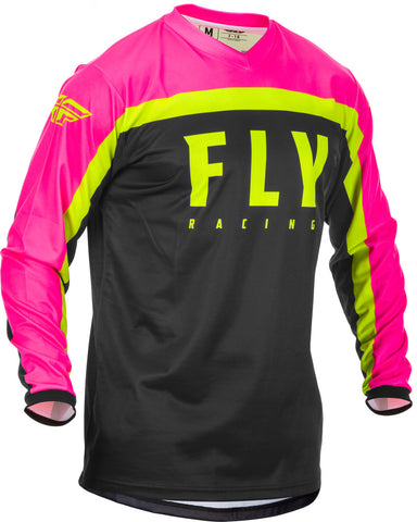 NEW 2020 FLY RACING YOUTH F-16 JERSEY - BLACK PINK HI VIS