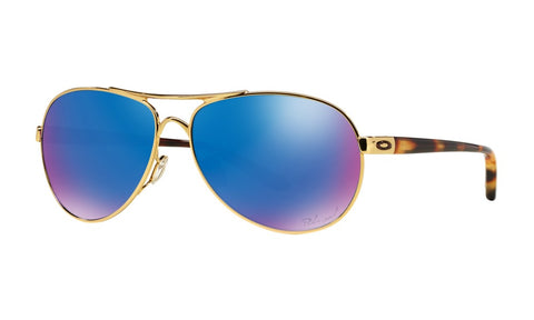 OAKLEY FEEDBACK POLISHED GOLD w/SAPPHIRE IRIDIUM POLARIZED