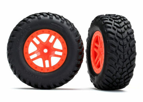 TRAXXAS TRA5892 ORANGE TIRES & WHEELS, ASSEMBLED, GLUED 12MM HEX