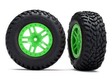 TRAXXAS TRA5892X GREEN TIRES & WHEELS, ASSEMBLED, GLUED 12MM HEX