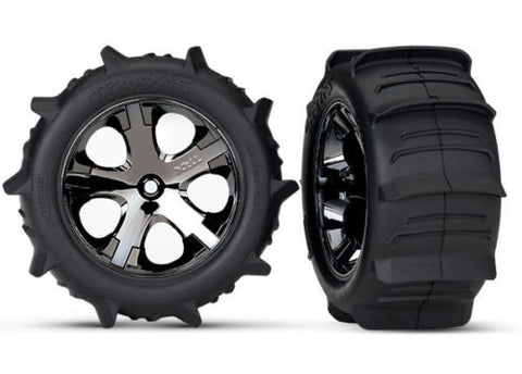 "TRAXXAS PADDLE TIRES & BLACK CHROME 2.8"" WHEELS"
