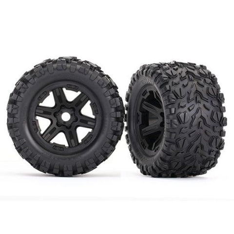 TRAXXAS E-REVO 2 TALON EXT TIRES MOUNTED ON BLACK WHEELS W/17MM SPLINED HEX