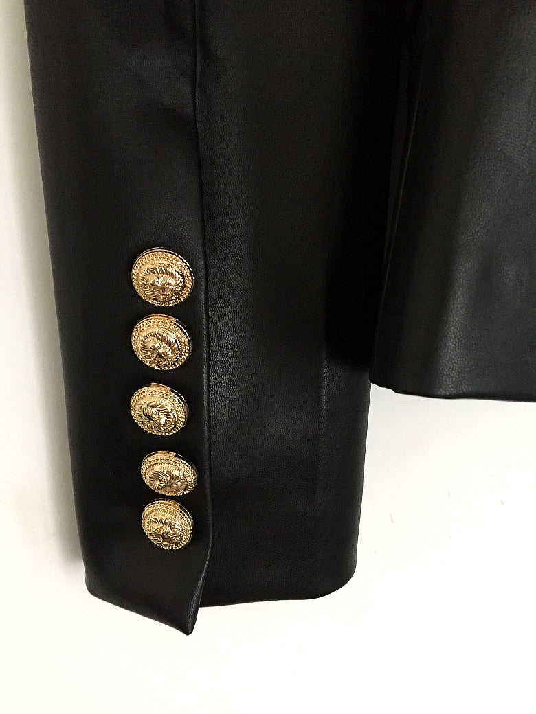 c1902020 Deluxe Women's Newest Fall Winter 2019 Designer Blazer Jacket Women's Lion  Metal Buttons Double Breasted Synthetic Leather Blazer Overcoat