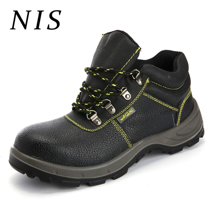 c16618dcca606 NIS Men Safety Shoes Welding Work Boots PU Leather Steel Toe Men Hiking  Hunting Ankle Boots Atrego Anti-smashing Sport Shoes New