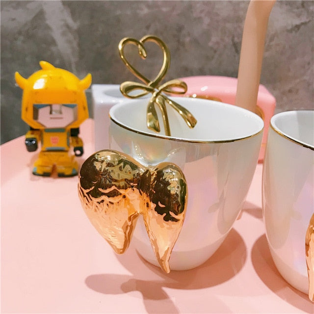 Gold Angel Wing Ceramic Cup Pearl White For Breakfast Coffee Latte Milk  Unique Gift For Her 200ml