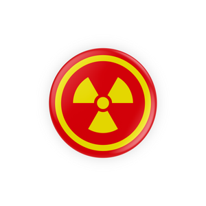 Yellow and Red Hazard Symbol Pin-Back Button