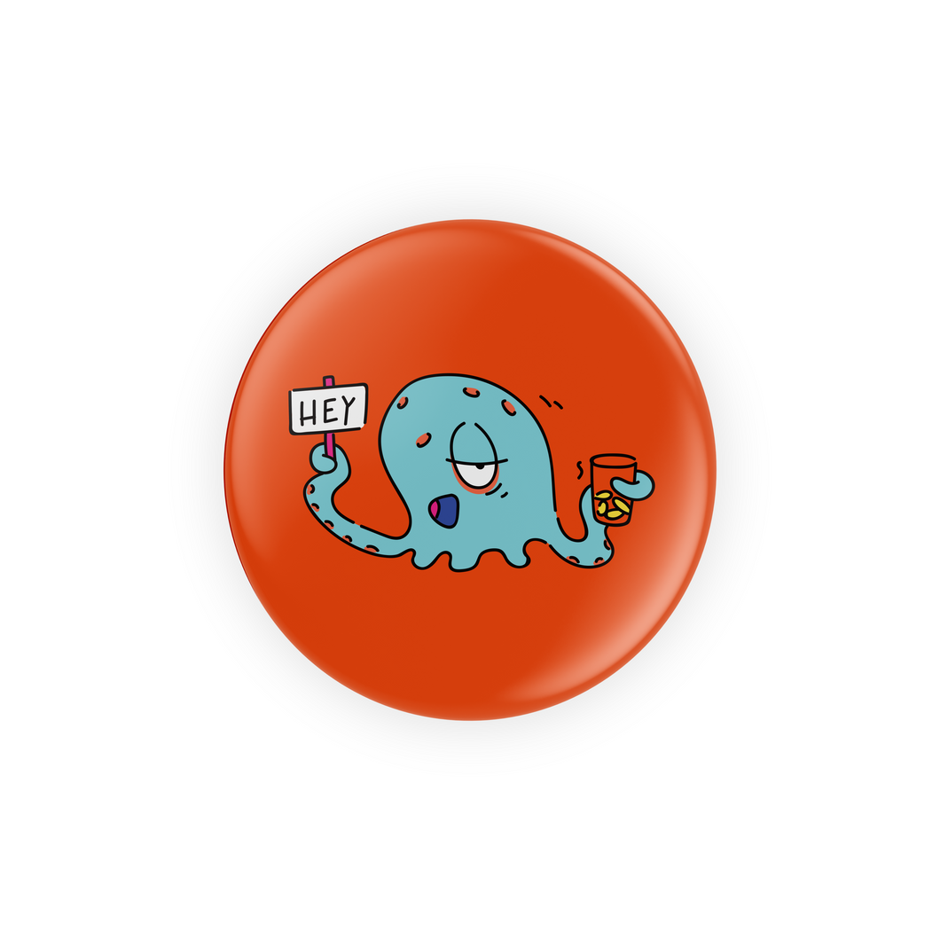 Homeless Alien with 'HEY' Sign Pins