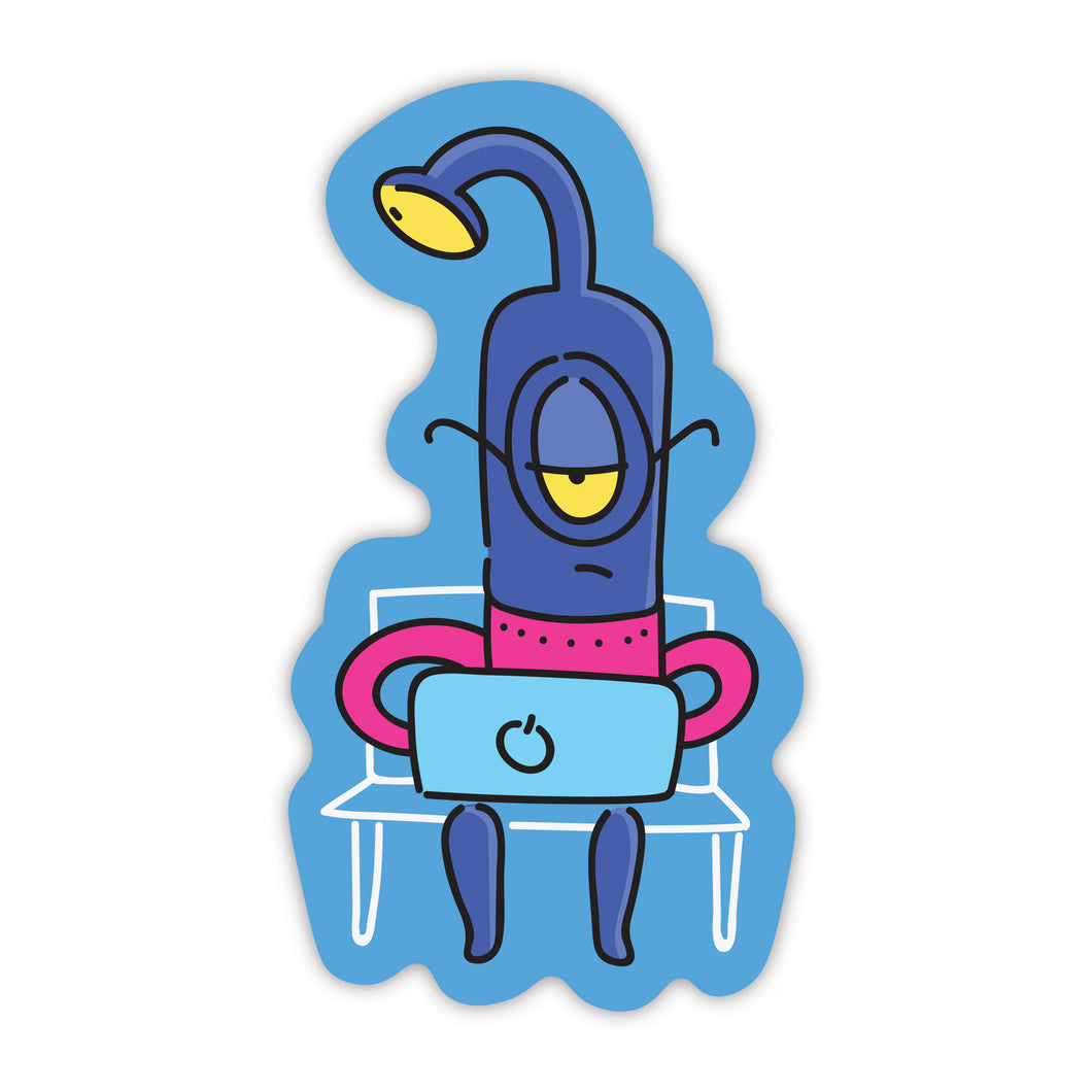 Alien on Laptop on Bench Stickers