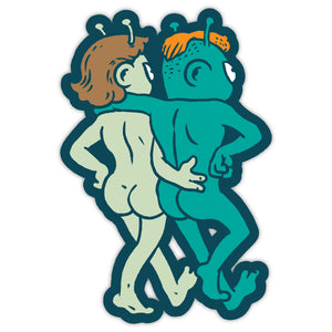 "10th Queendom ""We're All Aliens Here"" Nudist Aliens Sticker"