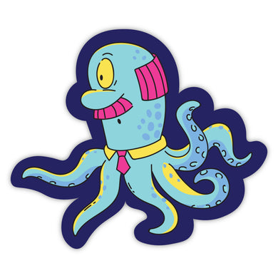 Octopus Alien with Mustache and Tie Stickers