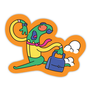 Alien Rushing with Briefcase Stickers