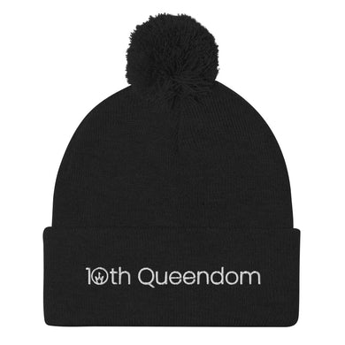 10th Queendom Wordmark Pom-Pom Beanie in White Lettering