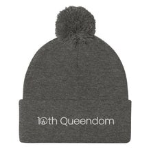 Load image into Gallery viewer, 10th Queendom Wordmark Pom-Pom Beanie in White Lettering