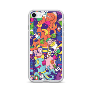 We're All Aliens Here iPhone Case by Nikolett Mérész [Overlapping Alien Design]