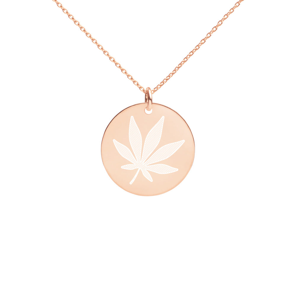 Engraved Weed Cannabis Leaf Silver Disc Necklace