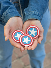 Load image into Gallery viewer, Americana Patriotic Red White and Blue Star and Stripes Pin-Back Button