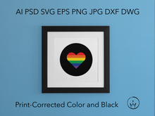 Load image into Gallery viewer, Rainbow Pride Heart Svg Ai Pdf Jpg Png Eps Psd Dwg Dxf Layered Silhouette Cricut Vector Die Cut & Sublimation Files Instant Digital Download