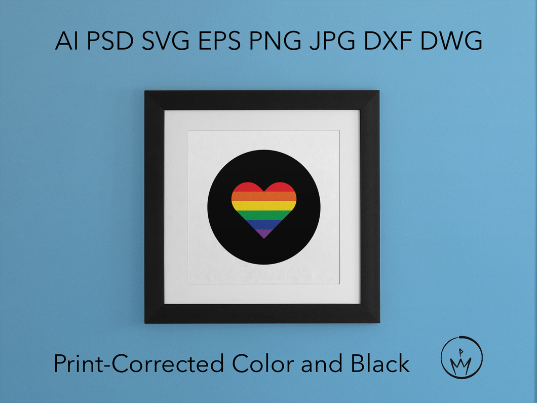 Rainbow Pride Heart Svg Ai Pdf Jpg Png Eps Psd Dwg Dxf Layered Silhouette Cricut Vector Die Cut & Sublimation Files Instant Digital Download