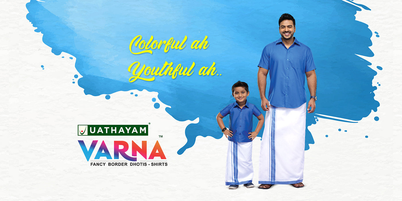 Uathayam Varna Fancy Border Dhotis and Shirts for Men and Kids