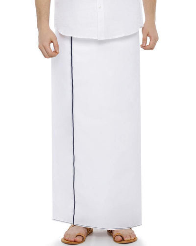 Hi-tech - Single Dhoti With Navy Blue Small Border