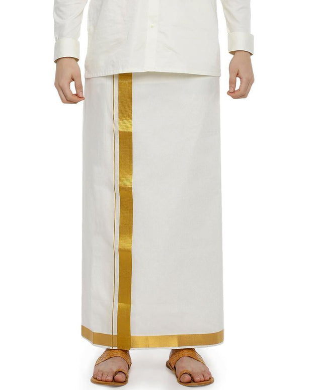 Snow Gold Cream Jari  - Single Cream Jari Pure Cotton Dhoti