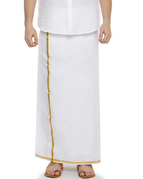 Zeebra Gold Jari - Single White Jari Pure Cotton Dhoti