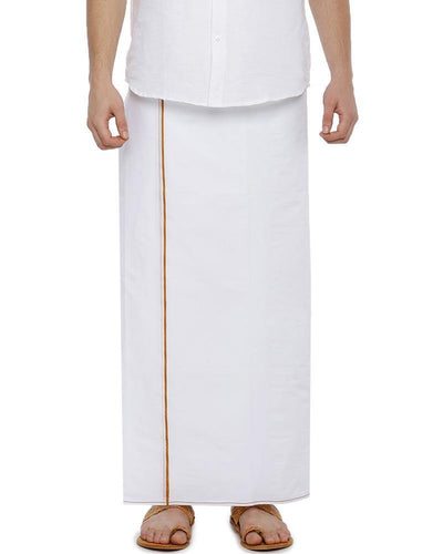 H2O- Double Dhoti With Dark Yellow Small Border