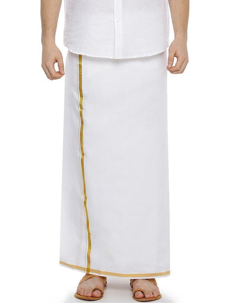 Zeebra Gold Cream Jari -Single Cream Jari Pure Cotton Dhoti