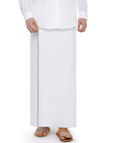 Hi-tech- Single Dhoti With Grey Small Border