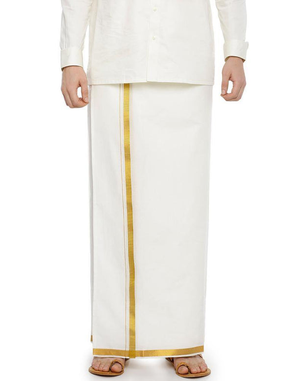 "Yonex Double Cream Jari 3/4"" Pocket Dhoti"