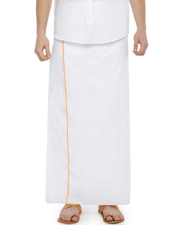H2O- Double Dhoti With Yellow Small Border