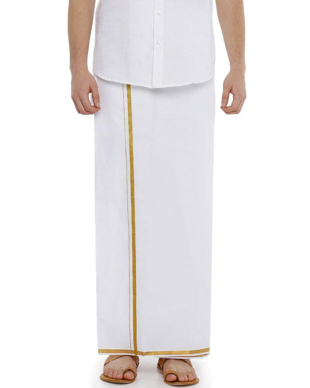 "Yonex Single White Jari 1/2"" Pocket Dhoti"