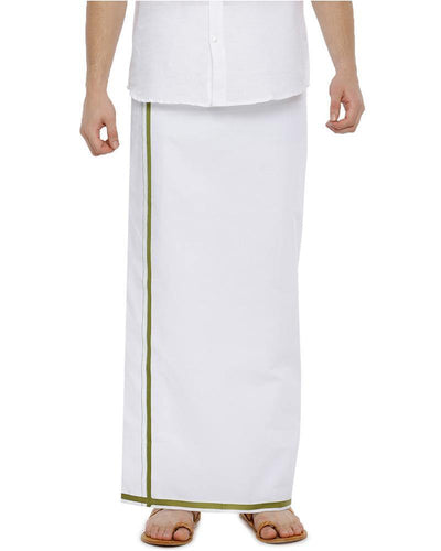 Popular - Single Dhoti With Green Big Border