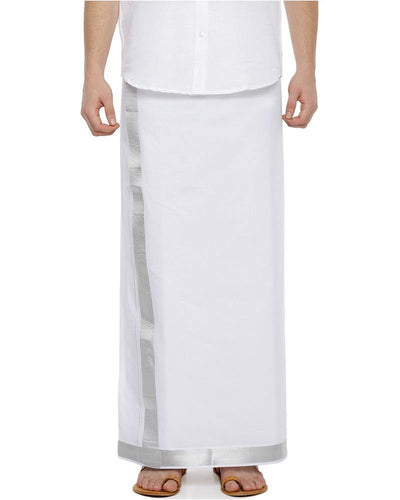 Randam Silver Jari - Single Silver Jari Pure Cotton Dhoti