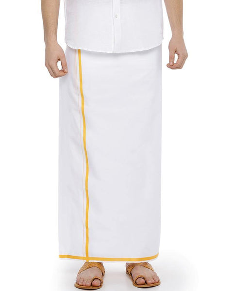 Popular - Single Dhoti With Yellow Big Border