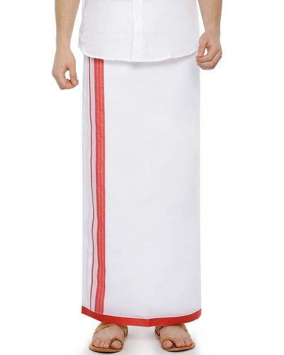 Bansi - Red Fancy Double Dhoti