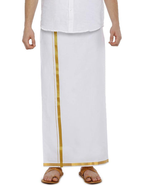Fixit Single White Jari - Free Size Pocket Dhoti