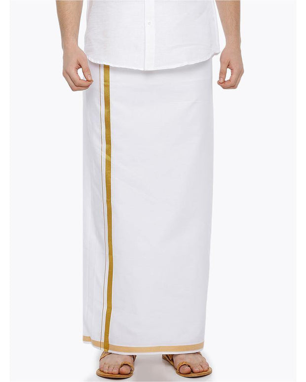 Wallmart White Jari - Single White Jari Pure Cotton Dhoti