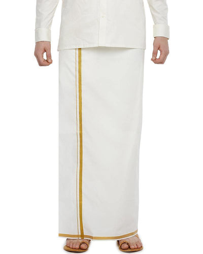 "Yonex Single Cream Jari 1/2"" Pocket Dhoti"