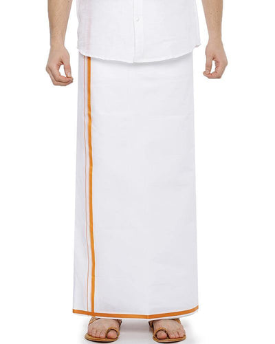 Garland -  Double Dhoti With Yellow Big border