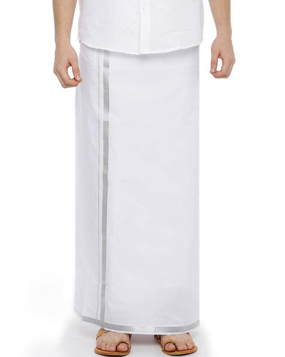 Wallmart Silver Jari - Single Silver Jari Pure Cotton Dhoti