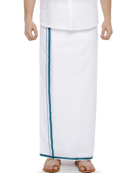 Garland -  Double Dhoti With Blue Big Border
