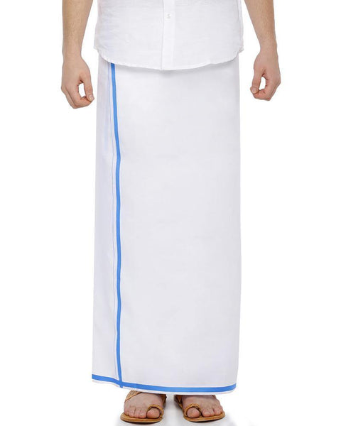Popular- Single Dhoti With Blue Big Border