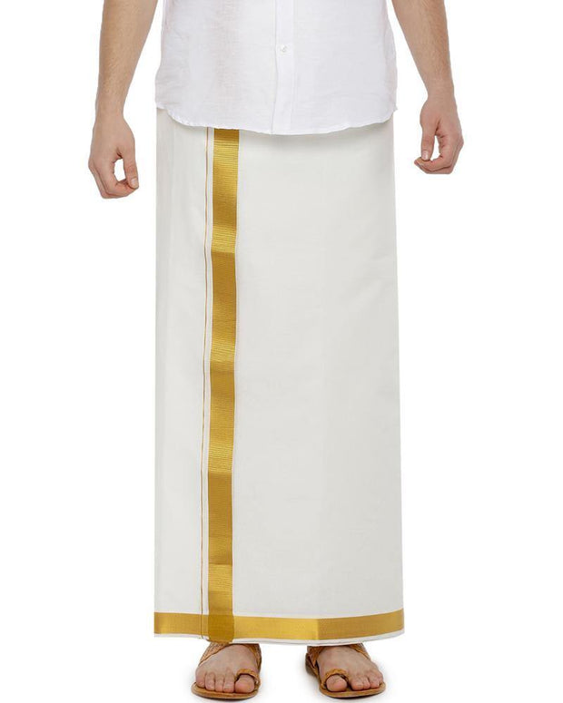 Snow Gold White Jari - Single White Jari Pure Cotton Dhoti