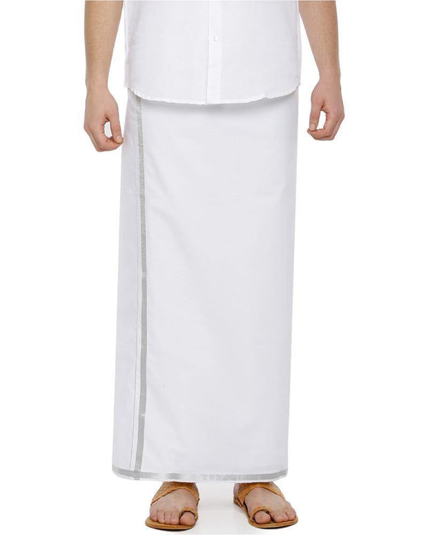 Zeebra Silver Jari - Single Jari Pure Cotton Dhoti